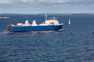 Cargo ship on the baltic sea. Aland islands. Finland