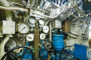 Second war world submarine interior. Military vessel